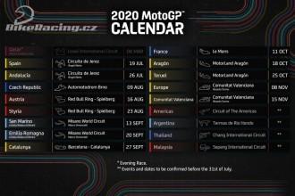 Revidovaný kalendář Grand Prix 2020